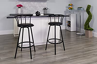 Flash Furniture 30 in. Metal and Vinyl Crown Back Swivel Bar Stool