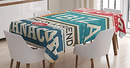 CHARMHOME Ibiza Cotton Linen Tablecloth, Dining Room Kitchen Rectangular Table Cover 54(W) X54(L) Inch, Vacation Themed Majorca Ibiza And Manacor Exotic Places From Balear Region Spain by CHARMHOME