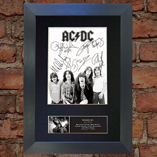 (#689 ACDC Signed Autograph Photo Reproduction Print A4 Rare Perfect Birthday (297 x 210mm) (Black Frame))