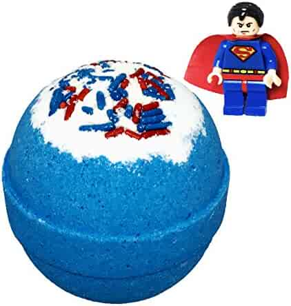 Superhero BUBBLE Bath Bomb with Surprise Toy Minifigure Inside by Two Sisters Spa, Best Boys Girls Gift Idea, Large Scented Spa Fizzy, Fun Color, Lush Scent, Natural, Kid Safe, Vegan, Hand-made in USA