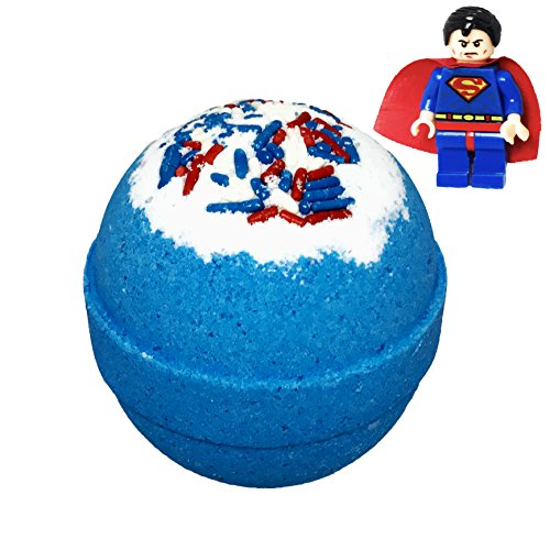 Superhero BUBBLE Bath Bomb with Surprise Toy Minifigure Inside, Best Boys Girls Gift Idea, Large Scented Spa Fizzy, Fun Color, Lush Scent, Natural, Kid Safe, Vegan, Oils for Dry Skin, Hand-made in USA -