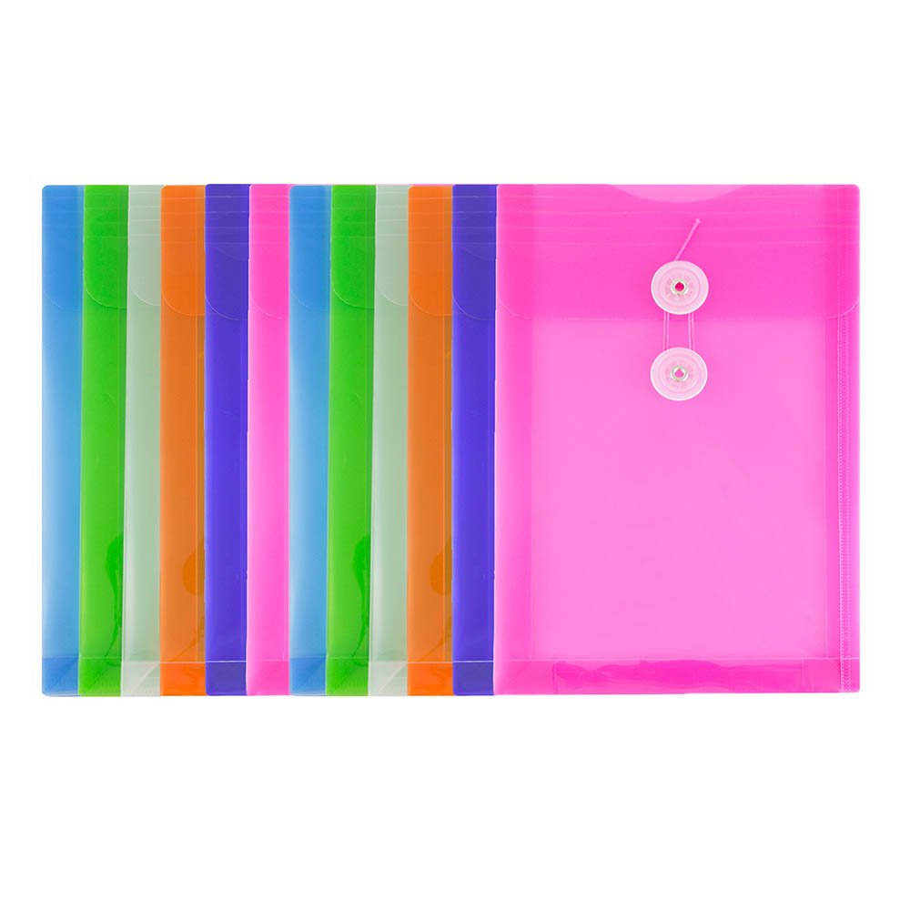 JAM Paper Plastic Envelopes with Button & String Tie Closure - 6 1/4 x 9 1/4 - Assorted Colors - 12/Pack