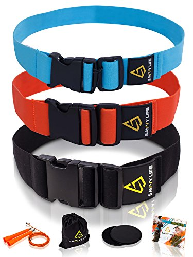 Adjustable Booty & Hip Resistance Bands (3) By Savvy Life | Detachable + 3 Intensity Levels, For Crossfit, Pilates, Yoga, Squat And Weightlifting Workouts | Legs And Hips Training For Women And Men