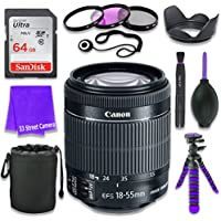 Canon EF-S 18–55mm f/3.5–5.6 IS STM Lens for Canon DSLR Cameras & SanDisk 64GB Class 10 Memory Card + Complete Accessory Kit (11 Items)