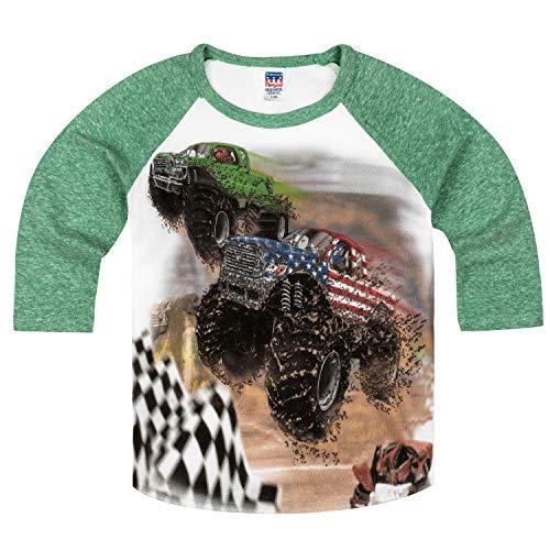 Shirts That Go Little Boys' Monster Trucks Racing Raglan T-Shirt 6 Green Sleeves