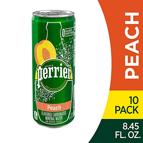 (Perrier Peach Flavored Carbonated Mineral Water, 8.45 fl oz. Slim Cans (10 Count))