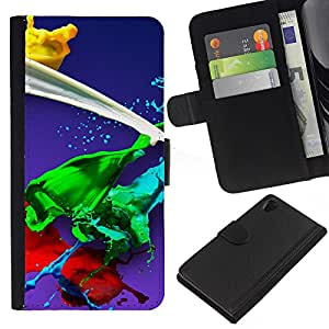 All Phone Most Case / Oferta Especial Cáscara Funda de cuero Monedero Cubierta de proteccion Caso / Wallet Case for Sony Xperia Z2 D6502 // Paint Splash Green Red Yellow White Blue