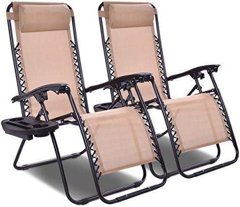 Giantex 2 PCS Zero Gravity Chair Patio Chaise Lounge Chairs Outdoor Yard Pool Recliner Folding Lounge Chair