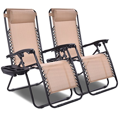 Giantex 2 PCS Zero Gravity Chair Patio Chaise Lounge Chairs Outdoor Yard Pool Recliner Folding Lounge Chair with Cup Holder Beige