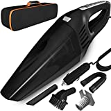 Teefortek Car Vacuum, DC 12V 120W High Power Portable Handheld Car Vacuum Cleaner with LED Light; Strong Suction, Wet Dry Use Auto Car Vacuums for Quick Cleaning, 14.5 feet Power Cord, Carry Bag