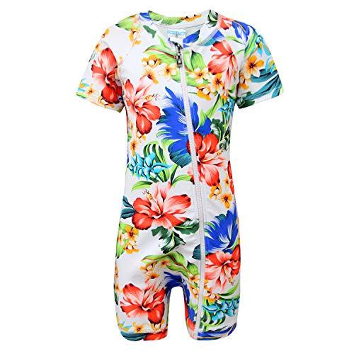 qyqkfly Baby/Toddler Girls Full Zip UPF 50+ Sun Protection One Piece Swimsuit(FBA) (D-Louisiana Iris, 3T(3Y))