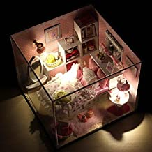 HJL- Mini-Villa Pink LED Light Princess Bedroom Model DIY Handmade Wooden Doll House