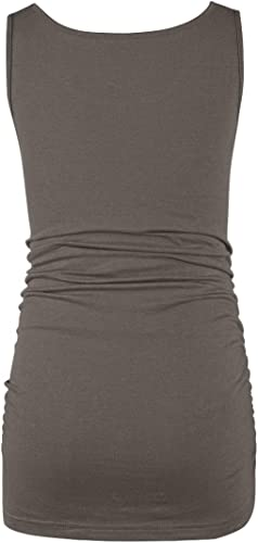 BAIKEA Maternity Scoop Neck Side Ruched Racerback Tank Tops Pregnancy T-Shirt