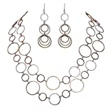 Rosemarie Collections Women's Tri Tone Circle Necklace and Earring Set