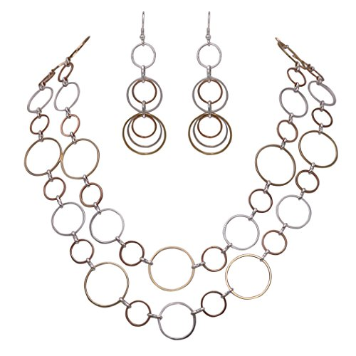 Rosemarie Collections Women's Tri Tone Strand Open Chain Necklace and Earring Gift Set