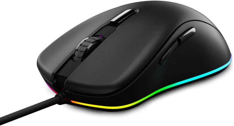DAREU Wired Gaming Mouse 6 Programmable Buttons 6000 DPI Adjustable 16.8 Million Chroma RGB Backlit Comfortable Grip Ergonomic Optical Sensor Gaming Mice for Notebook PC Laptop Computer –Black EM908