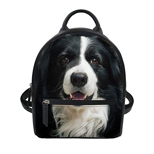 Womens Workout Backpack Cute Dog Pattern Mini Casual Travel Leather Rucksack Daypack by Dellukee