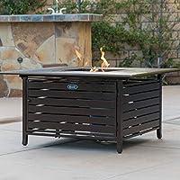 Belleze 40,000 BTU Square Rust-Resistant Gas Outdoor Propane Heater Fire Pit Table Adjustable Aluminum with Doors, Bronze
