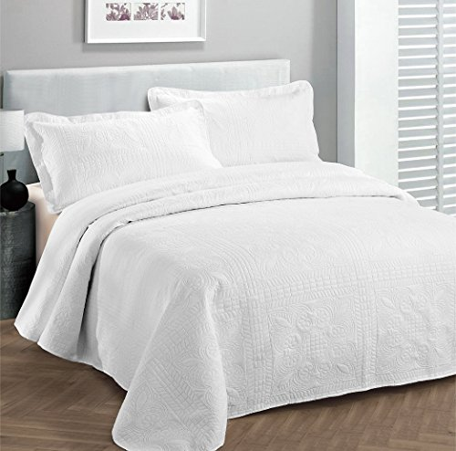 Fancy Collection 3pc Luxury Bedspread Coverlet Embossed Bed Cover Solid White New Over Size Full/queen