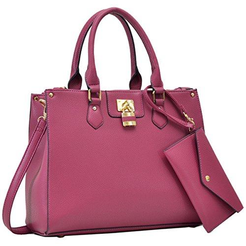 Dasein Women's Designer Leather Satchel Top Handle Shoulder Bag Padlock Tote Handbag w/ Coin Purse