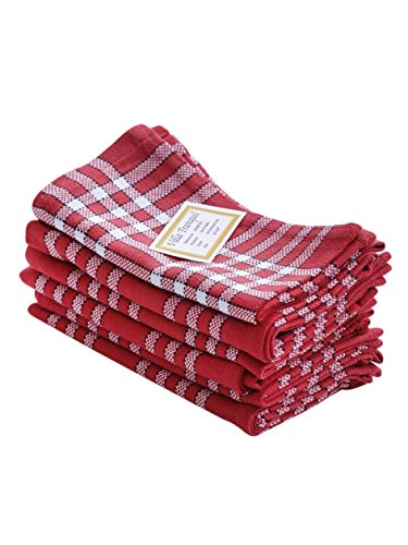 Napkins, Set of 6, 100% Cotton, Normand Check Design, Essential for all tables, Red Color, Size 16''x16''. by Villa Tranquil