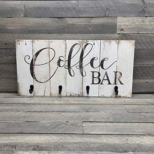 Amazon.com: Coffee Bar Reclaimed Wood Pallet Sign Mug Rack ...