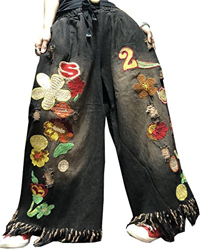YESNO PEH Women Casual Loose Denim Pants Embroidered Jeans Distressed Ripped Tassels Wide Leg Pocket ()