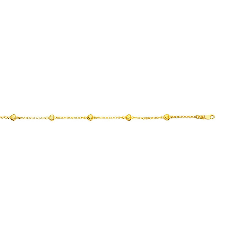 14k Yellow Gold 10 Inch Polish Finish Heart Rolo Anklet Bracelet