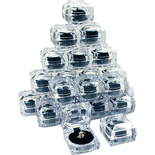 24 Clear Crystal Ring Gift Boxes 1 7/8
