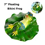 SIGMALL Floating Bikini Frog - Funny Outdoor Simulation Resin Cute Frog Lying on Lotus Leaf Floater for Pool Pond Decor Garden Art in Water (Bikini Frog)