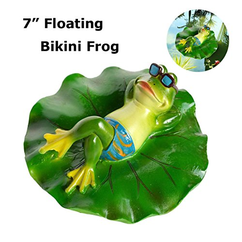 SIGMALL Floating Bikini Frog - Funny Outdoor Simulation Resin Cute Frog Lying on Lotus Leaf Floater for Pool Pond Decor Garden Art in Water (Bikini Frog) by SIGMALL
