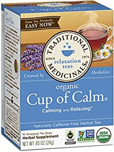 Traditional Medicinals Organic Cup of Calm Tea, 16 Tea Bags (Pack of 6)