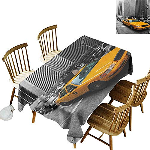 Rectangular tablecloths in a variety of colors and sizes Can be used for parties Yellow Cab in New York City Touristic Attractions Traffic Road Photography W54 x L108 Inch Marigold Grey Black -