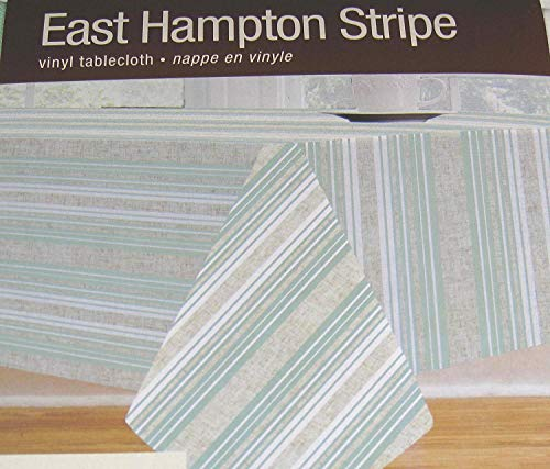 East Hampton Stripe Flannel Back Vinyl Tablecloths- Assorted Sizes- Square, Oblong/oval and Round By Elrene (70 Round)
