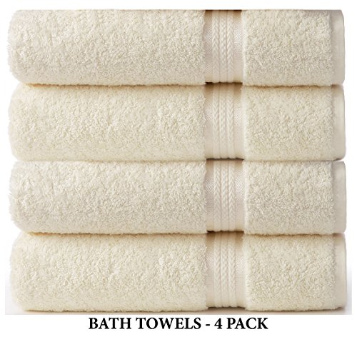 Cotton Craft – 4 Pack – Ultra Soft Oversized Extra Large Bath Towels 30×54 Ivory – 100% Pure Ringspun Cotton – Luxurious Rayon trim – Ideal for Daily Use – Each Towel Weighs 22 Ounces
