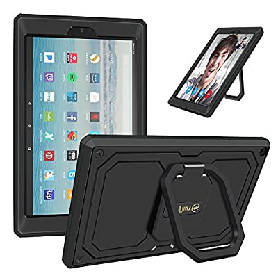 Fintie Case for All-New Amazon Fire HD 10 Tablet (7th Gen 2017) - [Tuatara Magic Ring] [360 Rotating] Stand Shockproof Protective Carry Cover w/ Built-in Screen Protector by Fintie