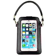 Sumaclife 6.0 Inch Universal Screen Pouch with Shoulder Hand Straps Pu Leather Purse Wallet Cellphone Case for Apple Iphone 6S / 6 Plus (Black)