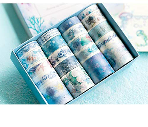 20 Pcs Kawaii Washi Decorative Masking Tape, Craft Self Adhesive Paper for Scrapbook Diary Wrapping DIY Decoration Supply (Ocean Sea Blue)