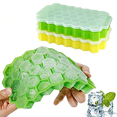 2PCS/set Honeycomb Shape Ice Cube 37 Grid Cubes Ice Tray Ice Cube Mold Storage Containers DIY Mould Pudding Jelly Mold Tray Gessppo