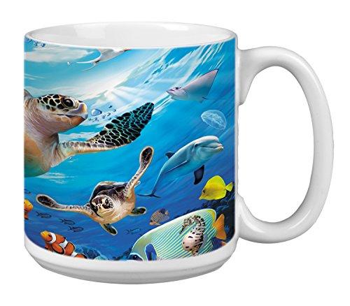 Tree-Free Greetings Extra Large 20-Ounce Ceramic Coffee Mug, Sea Turtles And Friends Themed Wildlife Art (XM29811)