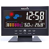 Nakosite HUM2433 mejor higrómetro digital estación meteorológica temperatura monitor termómetro y sensor de humedad para interior Funciona como un reloj, calendario y despertador para el hogar, oficina, etc. Pantalla de color plano, nueva tecnología, utiliza cable USB (incluido), o pilas AAA (no incluidas), color negro