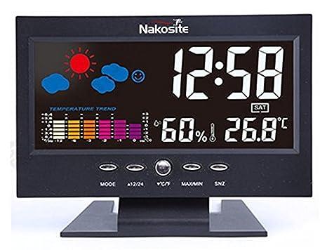 Nakosite HUM2433 mejor higrómetro digital estación meteorológica temperatura monitor termómetro y sensor de humedad para interior Funciona como un reloj ...