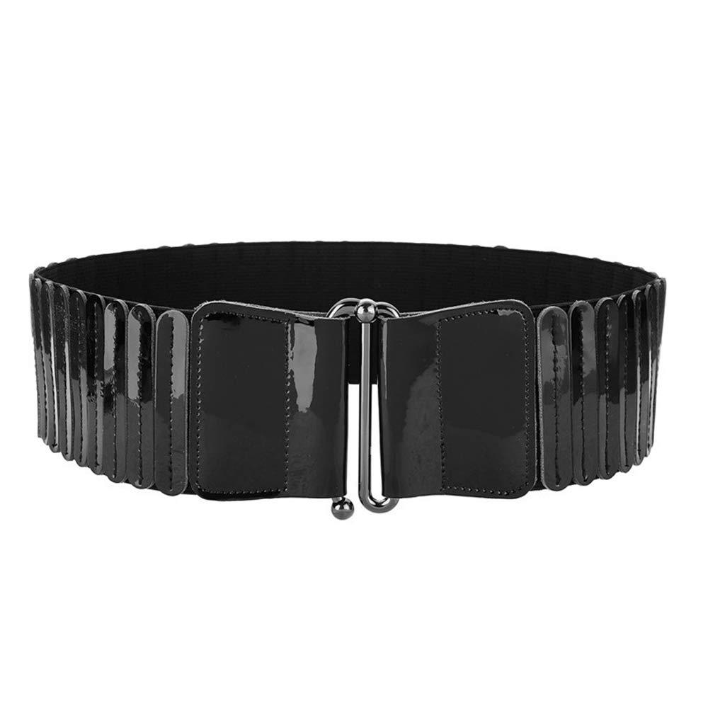 BLACK YYPD Belt Ladies' Belt Leather Girdle Patent Leather Stretch Wild Elastic Buckle Wide Belt Women's Fashion Coat Belt 70 cm Comfortable (color   Black)