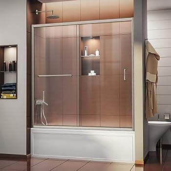 DreamLine Infinity Z 56 60 In. Width, Frameless Sliding Tub Door,
