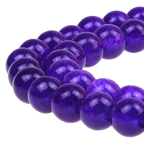 (JARTC Stone Beads Purple Jade Round Loose Beads For Jewelry Making Diy Bracelet Necklace)