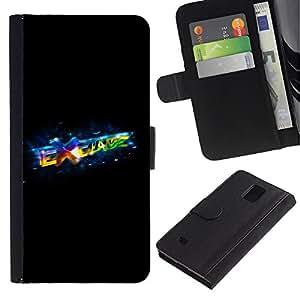 Billetera de Cuero Caso Titular de la tarjeta Carcasa Funda para Samsung Galaxy Note 4 SM-N910 / Exchange / STRONG