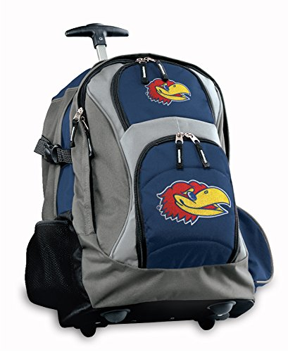 University of Kansas Rolling Backpack or KU Jayhawks CarryOn Suitcase Bag OFFICIAL NCAA BAGS by Broad Bay