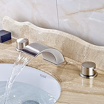 Rozin Waterfall Spout Bathroom Sink Faucet 2 Round Knobs Vanity Basin Mixing Tap Brushed Nickel