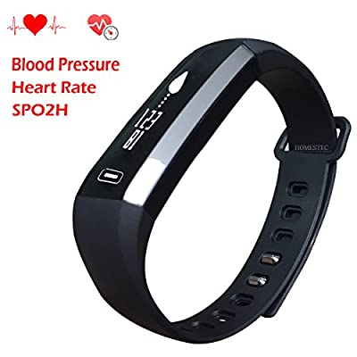 Homestec Blood Pressure S2 Smart Watch Fitness Tracker with SPO2H Heart rate monitor Sleeping Management Pedometer with OLED Touch Screen for Android iOS Smart Phone
