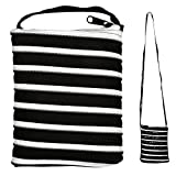JOE COOL Shoulder Bag All Zipper Large (Black with White Zip) Made with Polyester by